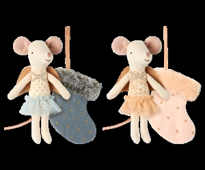 Maileg / Mouse Angel with stocking / Blue