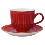 GreenGate / Alice Red / cup with saucer