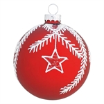 GreenGate / Ball Glass Flora Red with glitter / hanging