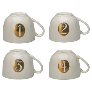 GreenGate / Candle holder set Advent / white 4 stk.