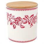 GreenGate / Fleur Red / Storage jar with wooden lid medium
